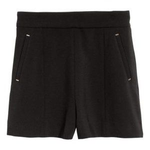 H&M Black City Shorts with Gold Buckle Detailing